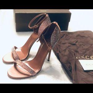 BrandNew- Gucci pink Swarovski glitter sandal heel